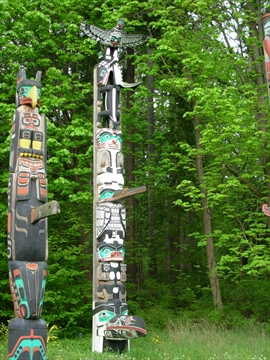 Chief Wakas Totem Pole in Stanley Park, Vancouver, BC, Canada