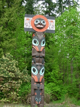 Chief Skedans Totem Pole in Stanley Park, Vancouver, B.C., Canada