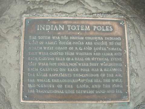 Totem Poles plaque in Stanley Park, Vancouver, BC, Canada