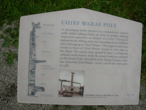 Chief Wakas Totem Pole plaque in Stanley Park, Vancouver, B.C., Canada