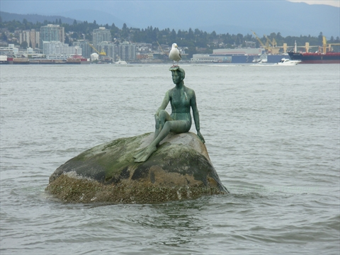 Girl in Wetsuit Statue in Stanley Park, Vancouver, BC, Canada