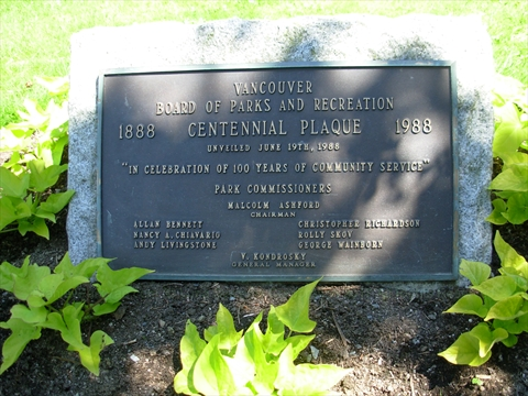 Vancouver Parks Board Centennial Plaque in Stanley Park