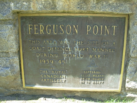 Ferguson Point Plaque in Stanley Park, Vancouver, BC, Canada