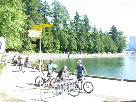 Bicycling in Stanley Park, Vancouver, British Columbia Canada