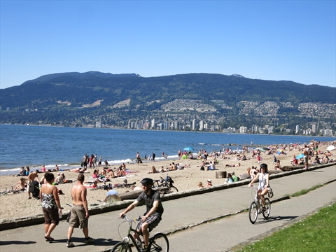 Bicycles on the Seawall in Stanley Park, Vancouver, B.C., Canada