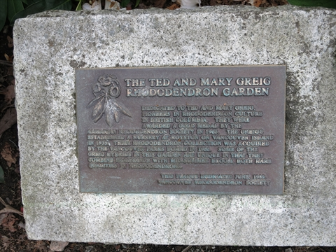 Ted and Mary Greig Rhododendron Garden plaque in Stanley Park, Vancouver, B.C., Canada
