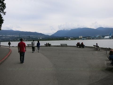 North side of Stanley Park where people fish, Vancouver, B.C., Canada