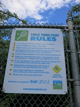 Tennis Court sign in Stanley Park, Vancouver, BC, Canada