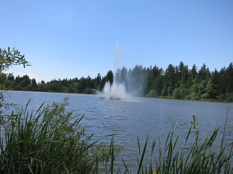 Jubilee Fountain in Lost Lagoon, Stanley Park, Vancouver, B.C., Canada