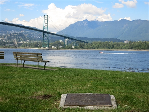 Plaque in Stanley Park, Vancouver, British Columbia Canada