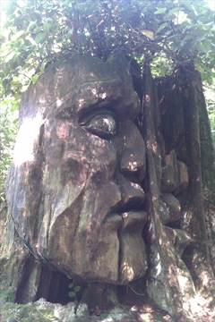 Two Spirits art work in Stanley Park, Vancouver, B.C., Canada