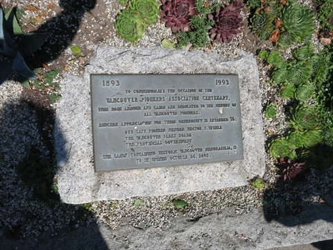 Vancouver Pioneers Association Centenary Cairn and Plaque