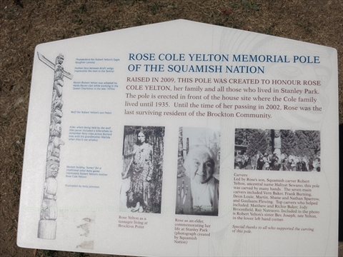 Rose Cole Yelton Memorial Totem Pole plaque in Stanley Park, Vancouver, BC, Canada