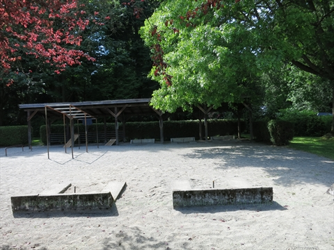 Horseshoe pits at Brockton Oval in Stanley Park, Vancouver, B.C., Canada