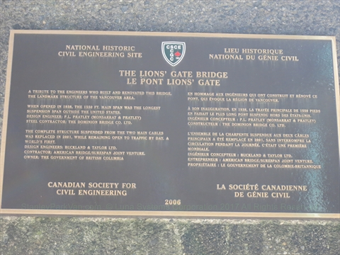 Lions Gate Bridge plaque
