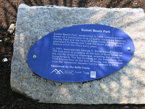 plaque at Sunset Beach in False Creek