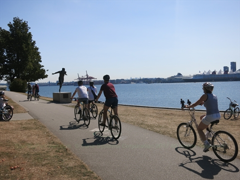Bicycling in Stanley Park, Vancouver, BC, Canada