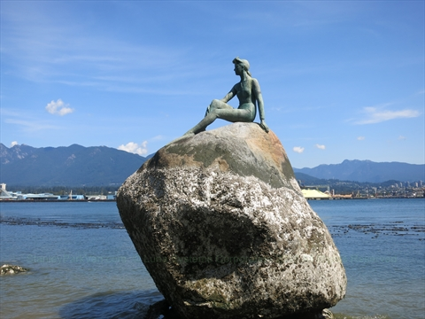 Girl in Wetsuit Statue in Stanley Park, Vancouver, B.C., Canada