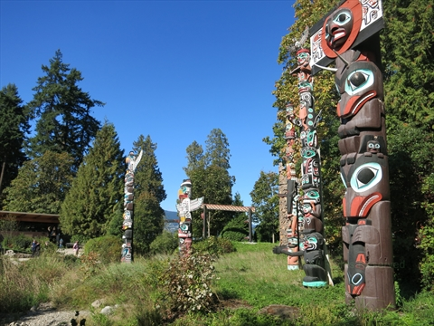 The Totem Poles in Stanley Park, Vancouver, BC, Canada