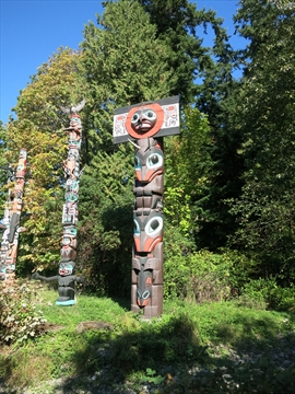 Chief Skedans Mortuary Totem Pole in Stanley Park, Vancouver, B.C., Canada
