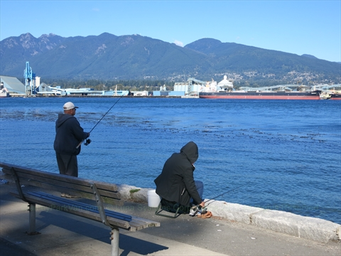 Fishing in Stanley Park, Vancouver, B.C., Canada