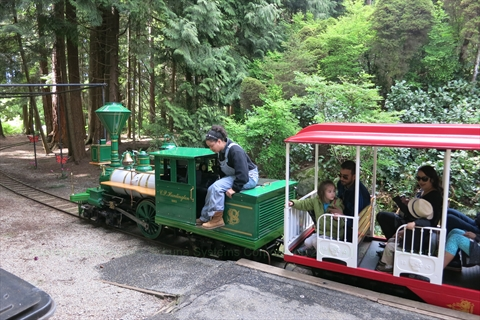 Summer Miniature Train in Stanley Park, Vancouver, BC, Canada