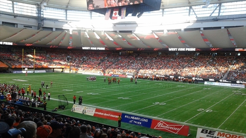 BC Lions game in BC Place, False Creek, Vancouver, BC, Canada