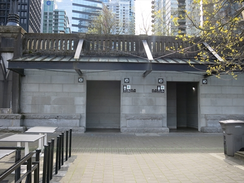 Public Washrooms at Coal Harbour, Vancouver, BC, Canada