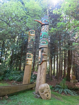 Miniature Train Totem Poles in Stanley Park, Vancouver, BC, Canada