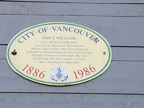 Percy Williams plaque